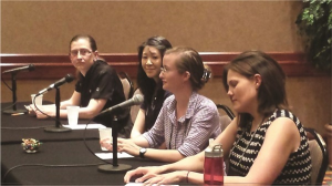Panelists K. Nicole Meyer (University of South Alabama), Kaitlin Woo (Memorial Sloan Kettering Cancer Center), Maria Terres (Duke University), and Samantha Tyner (Iowa State University) share their graduate school experiences with the audience.