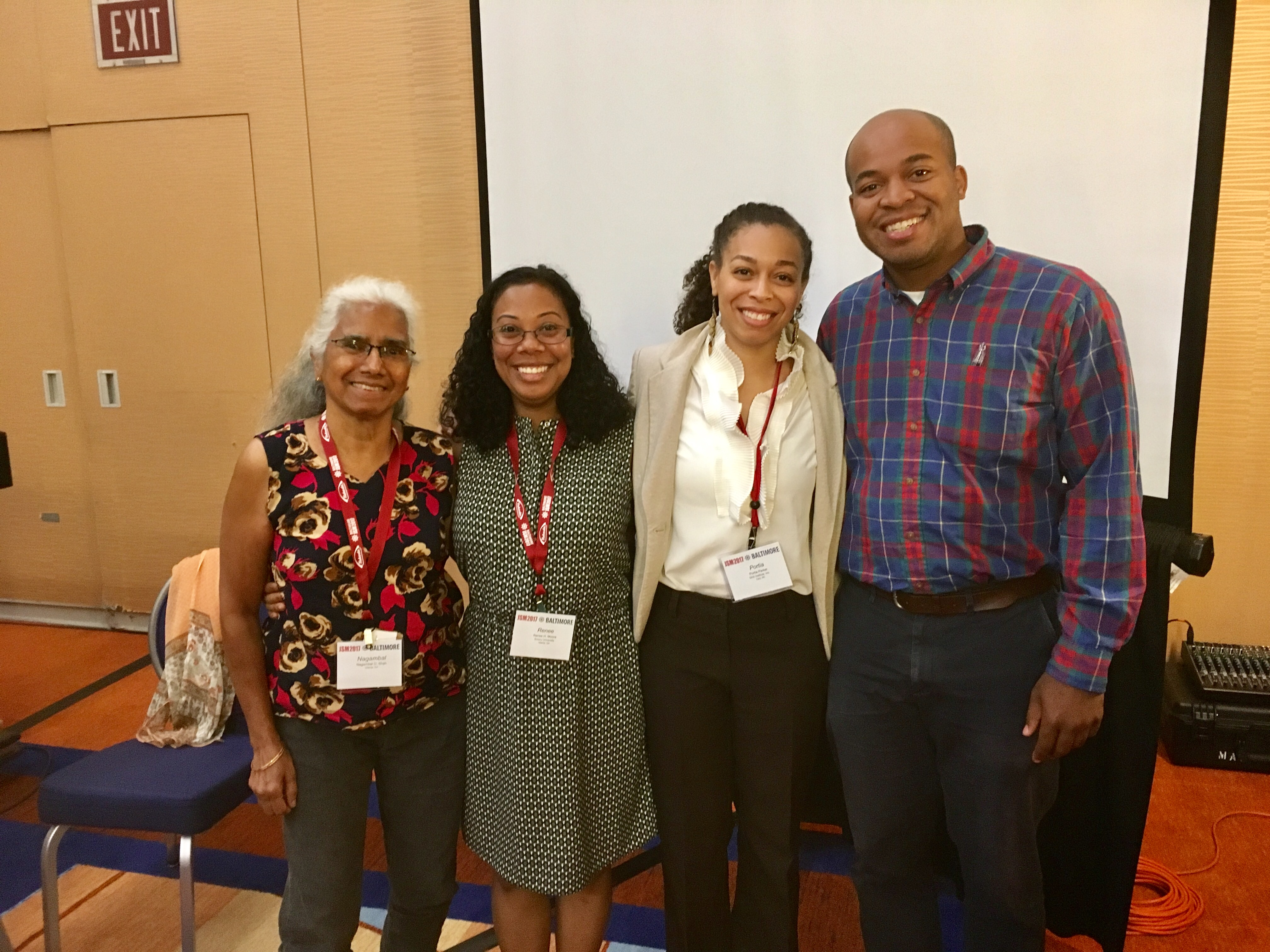 Nagambal Shah, Reneé Moore, Portia Parker, and Michael Sampson