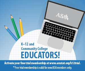 Ad reads k-12 and community college educators activate your FREE trial membership. Free trial is valid for new ASA members only. Links to K-12 ASA page